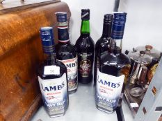 THREE BOTTLES OF 'LAMBS' NAVY RUM, BOTTLE OF MULLED WINE AND BOTTLE OF GINGER MULLED WINE  (5)