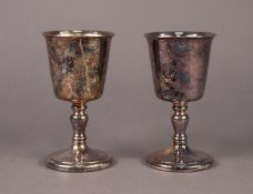 FIVE PIECES OF ELECTROPLATE, comprising: PAIR OF GOBLETS, 5? (12.7cm) high, HEAVY STYLISED BIRD