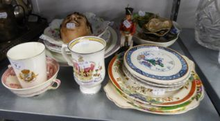 QUANTITY OF POTTERY VARIOUS TO INCLUDE; DECORATIVE PLATES, WALL MASK, COMMEMORATIVE CUPS, PARAGON