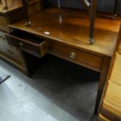 A NINETEENTH CENTURY BOXWOOD STRING SIDE TABLE WITH TWO DRAWERS