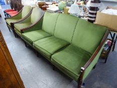 A TWENTIETH CENTURY FRAMED BERGERE SUITE OF 3 PIECES, VIZ SETTEE AND TWO ARMCHAIRS, UPHOLSTERED IN