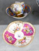 A PAIR OF DRESDEN CHINA QUATREFOIL SAUCER DISHES AND ONE MATCHING CUP (CUP A.F.) (3)