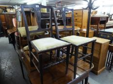A PAIRT OF EDWARDIAN BEDROOM SINGLE CHAIRS, WITH PIERCED SPLAT BACKS