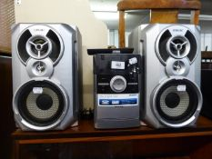 A PHILIPS CD PLAYER, A PAIR OF SONY LOUDSPEAKERS