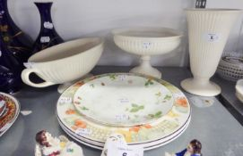 THREE WEDGWOOD LOBED WHITE POTTERY PIECES, VIZ A TRUMPET VASE, A BOAT SHAPED BOWL AND A CIRCULAR