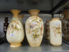 "THREE PAIRS OF CROWN DUCAL POTTERY VASES, 12.5"", 12"" AND 9 1/2"" HIGH (A.F.)"