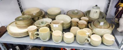 A LARGE QUANTITY OF STONEWARE 'DENBY' DINNERWARES, TO INCLUDE; TUREENS AND COVERS, TEAPOT, JUGS,