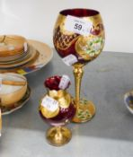 VENETIAN RUBY GLASS TALL GOBLET, WITH GILT AND PORCELAIN FLORAL DECORATION AND A SIMILAR SMALL