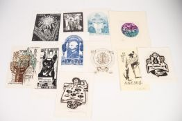 A small selection of EX-LIBRIS bookplates, various designs. Artists to include Joachim Voigt,