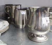 A PEWTER PINT TANKARD WITH GLASS BASE DEPICTING ?THE LAST DROP?; TWO VARIOUS PEWTER PINT TANKARDS