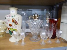 A LATE VICTORIAN OPALINE GLASS VASE, CLARET JUG, DECANTER, TALL VASE WITH SQUARE BASE AND OTHER