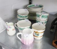 A LATE VICTORIAN 19 PIECE PORCELAIN TEASET AND THREE OTHER OLD PIECES OF CHINA