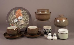 NINETEENTH PIECE DENBY POTTERY COFFEE SERVICE FOR SIX PERSONS, comprising: cup, saucers, sugar bowl,