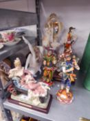 TWO PAIRS OF RESIN FIGURE ORNAMENTS AND THREE OTHERS OF ELEGANT LADIES (7)