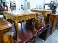 A PAIR OF MODERN INDONISIAN TEAK LOW TABLES, EACH WITH A FRIEZE DRAWER, ON MOULDED CABRIOLE