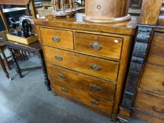 A LATE VICTORIAN WANUTWOOD VENEERED CHEST OF TWO SHORT AND THREE LONG DRAWERS