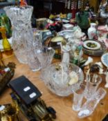"A LARGE CUT GLASS WAISTED VASE, 14 1/2"" HIGH, THREE SMALLER CUT GLASS VASES, A BOHEMIA CUT GLASS"
