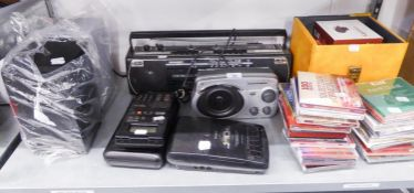 LLOYTRON PORTABLE RADIO, SHARP STEREO PORTABLE RADIO AND CASSETTE PLAYER, QUANTITY OF CD's, A PAIR
