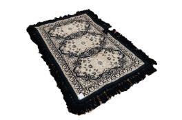 CASA PUPO STYLE FLAT WEAVE GREY RUG, with three oval panels in black rococo scroll frames, enclosing