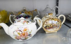 TWO VICTORIAN CHINA TEAPOTS, AN ADAMS STYLE POTTERY TEAPOT AND TWO OTHERS (5)