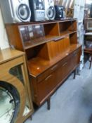 A TEAK FINISH SIDE UNIT OR SIDEBOARD (A.F.) AND A TUBULAR METAL FRAMED SMALL SAVE-SPACE DINING TABLE