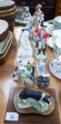 FIFTEEN MAINLY CERAMIC FIGURAL ORNAMENTS INCLUDING; MILITARY BANDSMEN