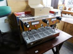 A GOOD QUALITY 'SAN REMO' COFFEE SHOP ESPRESSO/COFFEE MACHINE, IN FETCHING RED AND CHROME CASE (AS