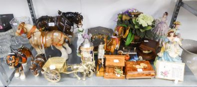 LARGE POTTERY SHIRE HORSE, THREE OTHERS, REGENCY FINE ARTS RESIN FIGURE OF A LADY 'SPRING POSY'
