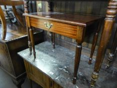 A MAHOGANY COFFEE/OCCASIONAL TABLE ON SLENDER LEGS AND ANOTHER COFFEE TABLE WITYH GLASS INSET