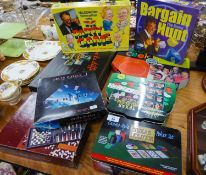 VARIOUS BOARD GAMES TO INCLUDE; BARGIN HUNT, TEXAS HOLD'EM POKER SET, READY STEADY COOK, POLITICAL