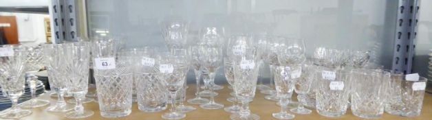 A SELECTION OF CUT GLASS TO INCLUDE; STEM WINE GLASSES, BOWLS, SHERRY GLASSES, TUMBLERS ETC....