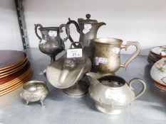 A PEWTER TEAPOT, PEWTER JUG, PEWTER SALT POT AND THREE OTHER ITEMS (6)
