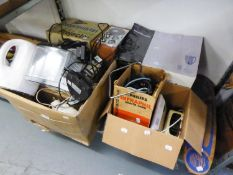 A MAINS RADIO, STEAM IRON, KETTLE, DESK LAMPS, SMOOTHIE MAKER (BOXED), HEAT LAMP, PROJECTOR ETC.....