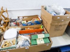 A LARGE COLLECTION OF KNITTING/SEWING EQUIPMENT TO INCLUDE; BUTTONS, NEEDLES, WOOL, ZIPS, ETC......