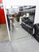 PAIR OF FRAMELESS BEVELLED EDGE WALL MIRRORS (61cm wide x 127cm high) AND A SQUARE MIRROR (80cm x