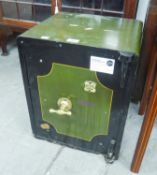 """A STEEL SAFE WITH BRASS 'T' HANDLE, INTERIOR DRAWER, 20"""" X 16"""" (OPEN BUT NO KEY)"""
