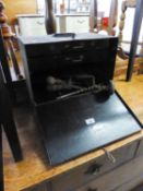 A METAL TOOL BOX WITH TWO INTERIOR DRAWERS AND FALL FRONT, CONTAINING ENGINEERING TOOLS