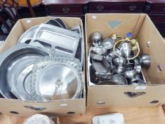 A QUANTITY OF STAINLESS STEEL KITCHENWARES, ALSO BRASS BATHROOM FITTINGS