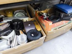 A LARGE QUANTITY OF PANS, UTENSILS, STAINLESS STEEL WARES, CROCKERY, DISHES ETC... (CONTENTS OF 3