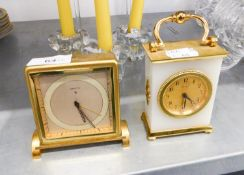 IMHOF WHITE ONYX AND SATIN BRASS MANTEL AND A ZENITH SWISS MANTEL CLOCK (2)