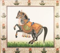 TWO MODERN INDIAN PAINTINGS ON SILK OF CEREMONIAL ANIMALS, one depicting an elephant, the other a