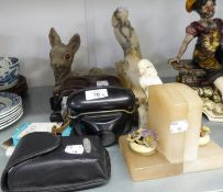 MINOR COLLECTABLE ITEMS TO INCLUDE; CARVED ALABASTER OWLS, MADE IN ITALY, ALABASTER BOOKENDS,
