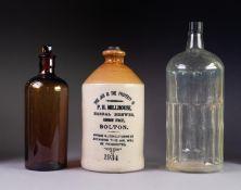 EARLY TWENTIETH CENTURY SALT GLAZED POTTERY ADVERTISING FLAGON, P.H. MILLHOUSE, Herbal Brewer, Canon