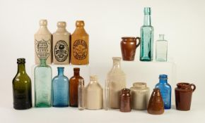 THREE POTTERY ADVERTISING GINGER BEER BOTTLES, ?HURN? S, SWANSEA?, ?R.ELLIS & SONS, RUTHIN? and ?W.