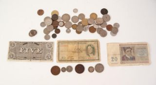 SUNDRY MAINLY MID 20th CENTURY COINAGE to include two Chinese ten cash copper coins, Leopold II five