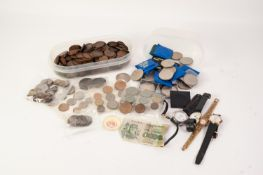An assortment of coins to include a tub with a quantity of one pennies, 28 various QE11 Crowns (4