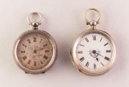 LADY'S SWISS CHASED SILVER (935 MARK) POCKET WATCH with key wind movement, floral chased silver dial
