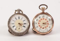 A. A. HICKEN, ESENS, GERMAN SILVER OPEN FACED POCKET WATCH with key wind movement, roman two-part