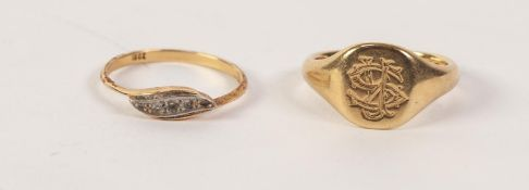 18ct GOLD SIGNET RING, ALSO AN 18ct GOLD RING set with five minute diamonds, 10.0gms gross (2)