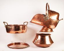 FIVE PIECES OF ANTIQUE AND LATER COPPER, comprising: HUGH WALLIS CIRCULAR TRAY with engraved